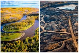 Before and after tar sands extraction. Photo featured at EcoEarth.Info.