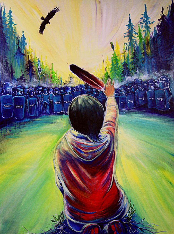 "Painting by Fanny Aishaa, based on APTN photographer Ossie Michelin's photograph of Amanda Polshies, entitled ""Wisp of Hope."""
