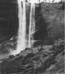 Naturalists and rangers conducted hikes through the canyons and along waterfalls for thousands of soldiers , like this group viewing Vernal Fall in 1943. (Photograph courtesy of the Yosemite Research Library.)