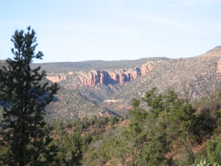 Fossil Springs Wilderness Area in central Arizona, designated along with West Clear Creek and 37 other areas in response to the Forest Service's RARE II process in 1984, also protects a rare perennial stream and riparian area that supports crucial biodiversity. Like West Clear Creek, the canyon walls define its boundaries. Visitors can almost always see out or across the wilderness area. In some places, the view includes roads and power lines. Photo by author.
