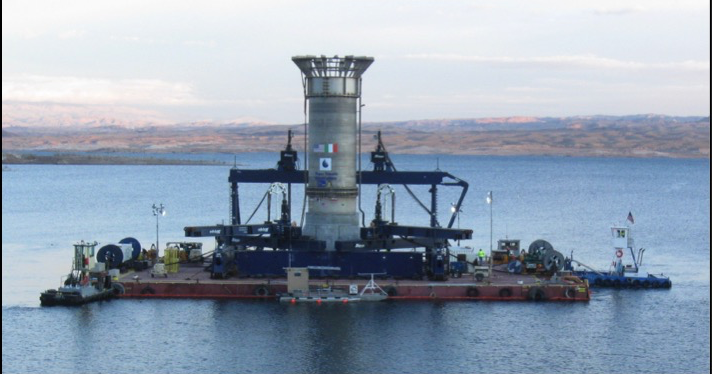 Assembled Intake Structure being transported across Lake Mead. Courtesy of SNWA