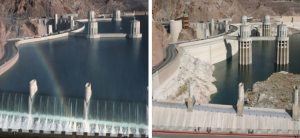 Water levels at Hoover Dam in 1983 and 2013. Courtesy of SNWA