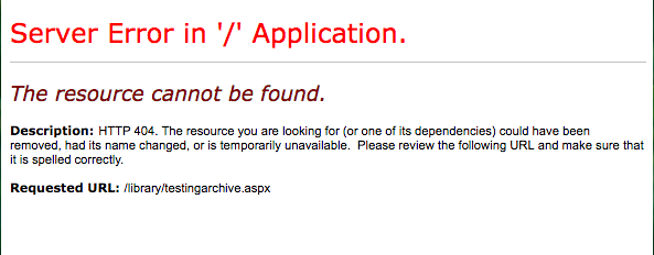 The current state of the web address http://www.nv.doe.gov/library/testingarchive.aspx.